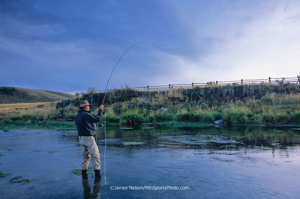 08497-P. A fly fisherman plays a trout on the Portneuf River in southeast Idaho.