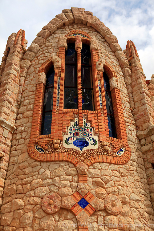Europe, Spain, Novelda. Newly installed stained glass windows at Santa María Magdalena, built by disciple of Gaudi.
