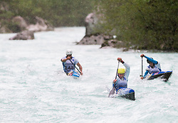 (L-R) Blaz Cof, Simon Hocevar and Peter Znidarsic of Slovenia compete in 3 x C1 men at sprint teams race at European wildwater Canoeing Championships Soca 2013 on May 12, 2013 in Trnovo ob Soci, Soca river, Slovenia. (Photo By Vid Ponikvar / Sportida)