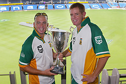 12 February, 2004. Eden Park, Auckland, New Zealand. National Bank Lunch Function...Herschelle Gibbs and Shaun Pollock pose with the Rugby Super 12 Trophy today at Eden Park. South Africa will play New Zealand on Friday...Pic: Andrew Cornaga/Photosport/SPORTZPICS