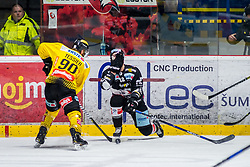 06.01.2019, Ice Rink, Znojmo, CZE, EBEL, HC Orli Znojmo vs Vienna Capitals, 36. Runde, im Bild v.l. Kelsey Tessier (Vienna Capitals) C.J. Stretch (HC Orli Znojmo) // during the Erste Bank Eishockey League 36th round match between HC Orli Znojmo and Vienna Capitals at the Ice Rink in Znojmo, Czechia on 2019/01/06. EXPA Pictures © 2019, PhotoCredit: EXPA/ Rostislav Pfeffer