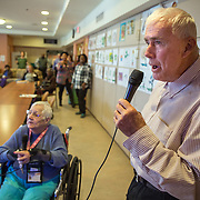 "MANASSAS, VA - NOV21:  Norma Felter and George Moseley sing ""Yellow Submarine"" during karaoke, at Birmingham Green, an elder care residence in Manassas, VA, November 21, 2014. With the U.S. population aging and Alzheimer's more widespread, science is looking for ways to slow or delay the onset of dementia in aging Americans. Among the approaches is trying to determine whether art, music and dance or movement can also alleviate the problems attendant with dementia. The federal government is funding a study at Birmingham Green with George Mason University to see whether there is a scientific basis to believe that art is actually medically beneficial. (Photo by Evelyn Hockstein/For The Washington Post)"