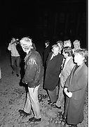 Ecumenical Service For Safe Return Of John O'Grady. (R670..1987..29.10.1987..10.29.1987..29th October 1987..As a result of the kidnapping of dentist John O'Grady  an Ecumenical Service was held, in The Chapel at Trinity College,Dublin, to pray for the safe return of Mr O'Grady...Picture shows the congregation leaving the chapel after the prayer service for kidnap victim John O'Grady.
