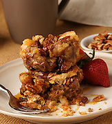 Breakfast crumb cake with pecans and fruit
