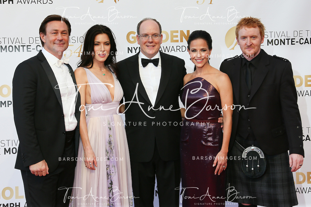 MONTE-CARLO, MONACO - JUNE 11: (L to R) Grant Bowler, Jaime Murray, Prince Albert II of Monaco, Julie Benz and Tony Curran attend the Closing Ceremony and Golden Nymph Awards of the 54th Monte Carlo TV Festival on June 11, 2014 in Monte-Carlo, Monaco.  (Photo by Tony Barson/FilmMagic)