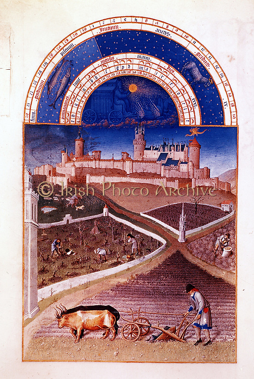 March. From 'Les Tres Riches Heures de Duc de Berry'. Ox-drawn wheeled plough, foreground, tending vines, keeping sheep and preparing to sow corn. Pisces and Aries signs of zodiac for month. Musee de Chantilly