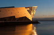 25 February 2015: The setting sun reflects off The Deep in Hull, East Yorkshire, UK.