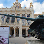 A SAU-100 Soviet tank allegedly operated by Fidel Castro against the U.S. backed invasion at the Bay of Pigs. Museum of the Revolution, Havana's most famous museum is located in the former presidential palace of the 1950's dictator Fulgencio Batista. Following the 1959 Revolution, it was converted into a museum celebrating the Cuban Revolution. <br /> Photography by Jose More