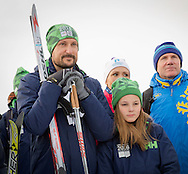 Lillehammer. 13-02-2016<br /> <br /> <br /> Crown Prince Haakon and Crown Princess Mette Marit  and their children Princess Ingrid Alexandra and Prince Sverre Magnus attend the Youth Olympic Games.<br /> <br /> Cross country skiing with young immigrants<br /> <br /> <br /> <br /> Royalportraits Europe/Bernard Ruebsamen
