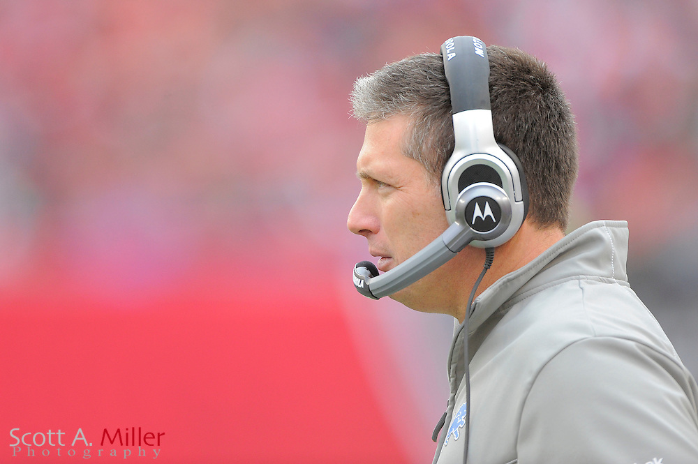 Detroit Lions head coach Jim Schwartz during the Lions 23-20 win over the Tampa Bay Buccaneers at Raymond James Stadium on Dec. 19, 2010 in Tampa, Florida...©2010 Scott A. Miller