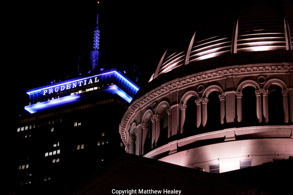 Boston, Massachusetts: The Prudential Tower which was sporting a new blue light color scheme looms over the Christian Science Center on Wednesday March 5, 2008. Photo by Matthew Healey