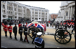 The coffin of Baroness Thatcher arriving at  St.Paul's Cathedral in London at the start of her funeral Wednesday 17th  April 2013 Photo by: Stephen Lock / i-Images