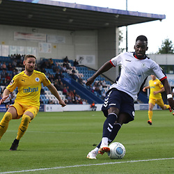 TELFORD COPYRIGHT MIKE SHERIDAN 25/8/2018 - Amari Morgan-Smith of AFC Telford holds off Dom Smalley of Chester during the Vanarama Conference North fixture between AFC Telford United and Chester City.