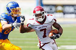 September 24, 2011; San Jose, CA, USA;  New Mexico State Aggies wide receiver Todd Lee (7) is tackled by San Jose State Spartans safety James Orth (81) during the third quarter at Spartan Stadium. San Jose State defeated New Mexico State 34-24.