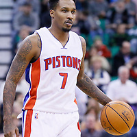25 January 2016: Detroit Pistons guard Brandon Jennings (7) brings the ball up court during the Detroit Pistons 95-92 victory over the Utah Jazz, at the Vivint Smart Home Arena, Salt Lake City, Utah, USA.