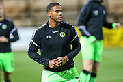 Forest Green Rovers Reuben Reid(26) warming up during the EFL Sky Bet League 2 match between Cambridge United and Forest Green Rovers at the Cambs Glass Stadium, Cambridge, England on 2 October 2018.