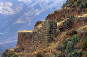 Inca ruina at Pisaq, near Cuzco, Peru