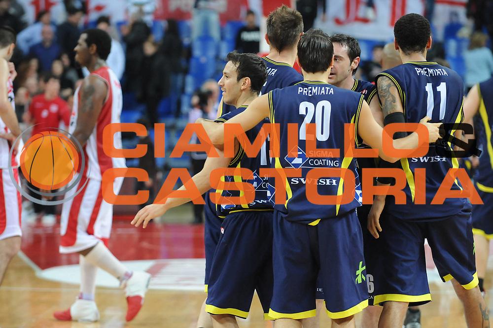 DESCRIZIONE : Pesaro Lega A 2009-10 Scavolini Spar Pesaro Sigma Coatings Montegranaro<br /> GIOCATORE : Team Montegranaro<br /> SQUADRA : Sigma Coatings Montegranaro<br /> EVENTO : Campionato Lega A 2009-2010<br /> GARA : Scavolini Spar Pesaro Sigma Coatings Montegranaro<br /> DATA : 21/03/2010<br /> CATEGORIA : esultanza<br /> SPORT : Pallacanestro<br /> AUTORE : Agenzia Ciamillo-Castoria/M.Marchi<br /> Galleria : Lega Basket A 2009-2010 <br /> Fotonotizia : Pesaro Campionato Italiano Lega A 2009-2010 Scavolini Spar Pesaro Sigma Coatings Montegranaro <br /> Predefinita :