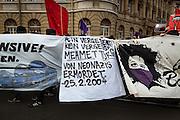Frankfurt | 25 February 2017<br /> <br /> Am Samstag (25.02.2017) nahmen etwa 1000 Menschen in Frankfurt am Main an einer linksradikalen Demonstration unter dem Motto &quot;Make Racists Afraid Again&quot; Teil. Die Demo begann am S&uuml;dbahnhof in Frankfurt-Sachsenhausen und endete am Willy-Brandt-Platz. Organisiert wurde der Aufmarsch von dem B&uuml;ndnis &quot;Antifa United Frankfurt&quot;.<br /> Hier: Ein Transparent erinnert an die Ermordung von Mehmet Turgut.<br /> <br /> photo &copy; peter-juelich.com