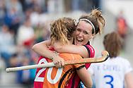 Eindhoven - Oranje Rood - Kampong  Dames, Hoofdklasse Hockey Heren, Seizoen 2017-2018, 15-04-2018, Oranje Rood - Kampong 3-1, doelpunt Donja Zwinkels (Oranje-Rood). ze viert het samen met Laura Nunnink (Oranje-Rood)<br /> <br /> (c) Willem Vernes Fotografie