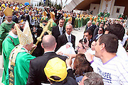 San Giovanni Rotondo 21 Giugno 2009, Visita Pastorale di Sua Santità Papa Benedetto  XVI , Italy San Giovanni Rotondo 21 06 2009, Visit of  Papa Benedetto  XVI in the foto il papa tocca un bimbo