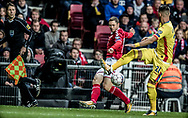 FOOTBALL: A pass from Henrik Dalsgaard (Denmark) is blocked by Dragoş Grigore (Romania) during the World Cup 2018 UEFA Qualifier Group E match between Denmark and Romania at Parken Stadium on October 8, 2017 in Copenhagen, Denmark. Photo by: Claus Birch / ClausBirch.dk.
