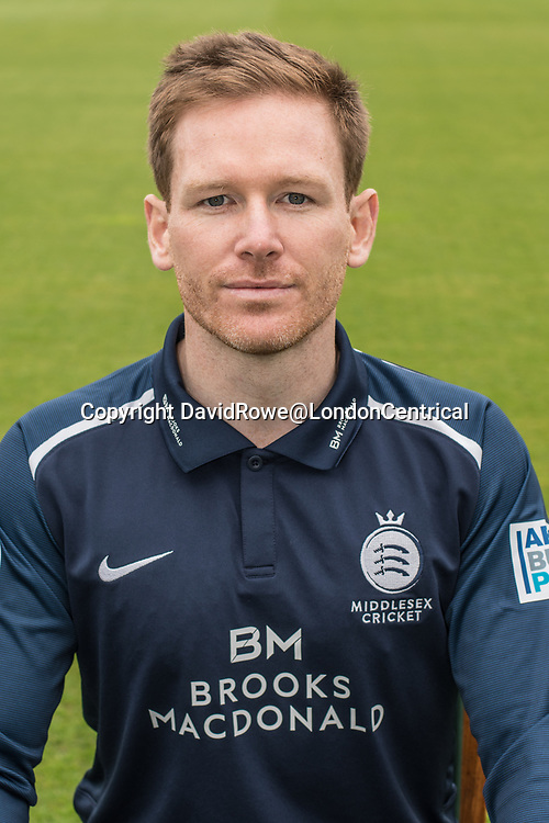 11 April 2018, London, UK.  Eoin Morgan of Middlesex County Cricket Club in the   blue Royal London one-day kit . David Rowe/ Alamy Live News