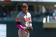 Manny Machado #13 of the Baltimore Orioles smiles during a game against the Minnesota Twins on May 12, 2013 at Target Field in Minneapolis, Minnesota.  The Orioles defeated the Twins 6 to 0.  Photo: Ben Krause