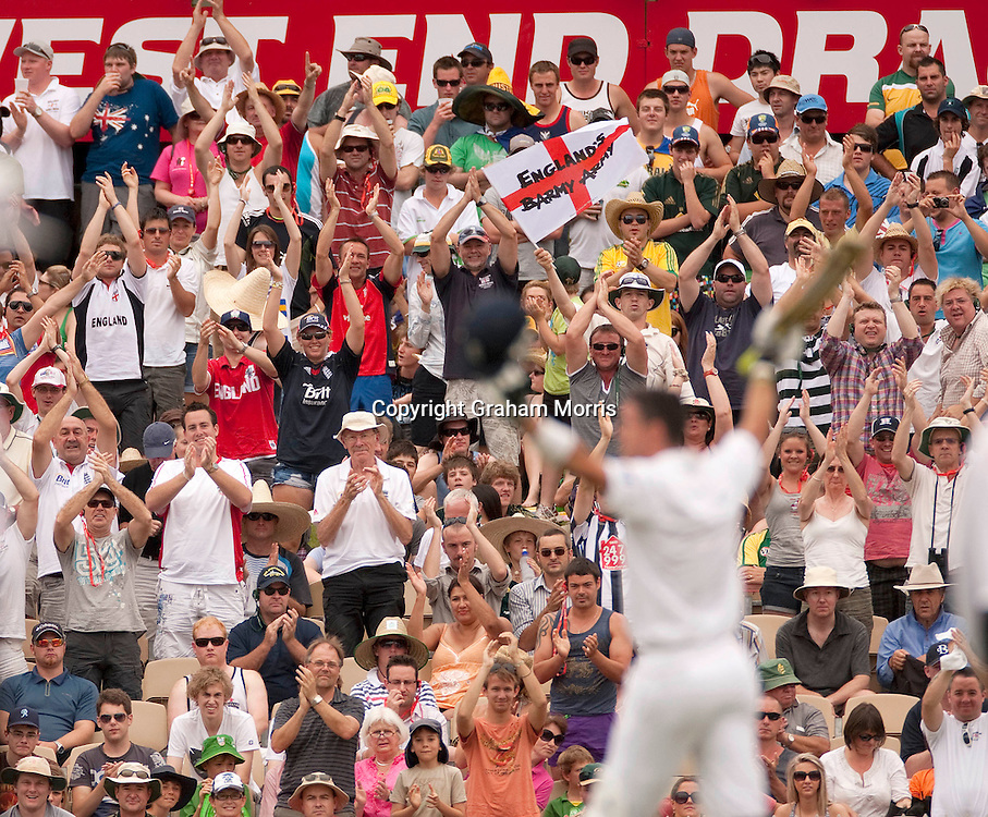 The Barmy Army applaud as Kevin Pietersen celebrates his century in the second Ashes Test Match between Australia and England at the Adelaide Oval. Photo: Graham Morris (Tel: +44(0)20 8969 4192 Email: sales@cricketpix.com) 5/12/10
