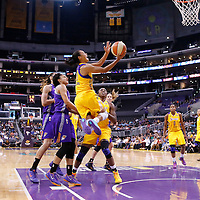24 August 2014: Los Angeles Sparks guard Kristi Toliver (20) goes for the layup during the Phoenix Mercury 93-68 victory over the Los Angeles Sparks, in a Conference Semi-Finals at the Staples Center, Los Angeles, California, USA.