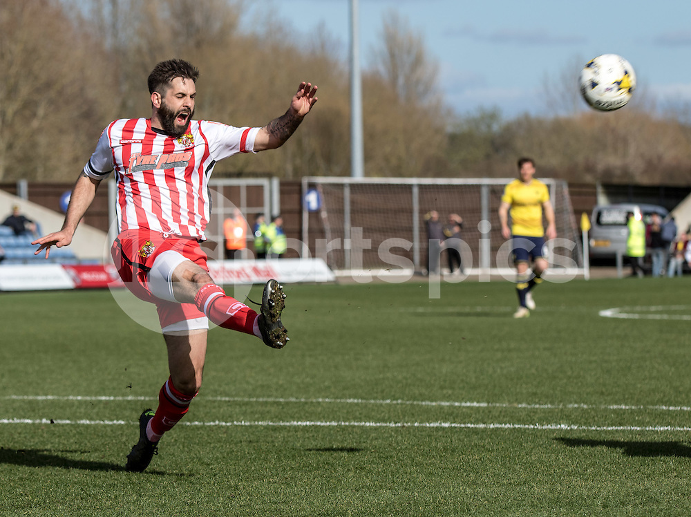 Dean Wells of Stevenage during the Sky Bet League 2 match between Oxford United and Stevenage at the Kassam Stadium, Oxford, England on the 25th March 2016. Photo by Liam McAvoy.