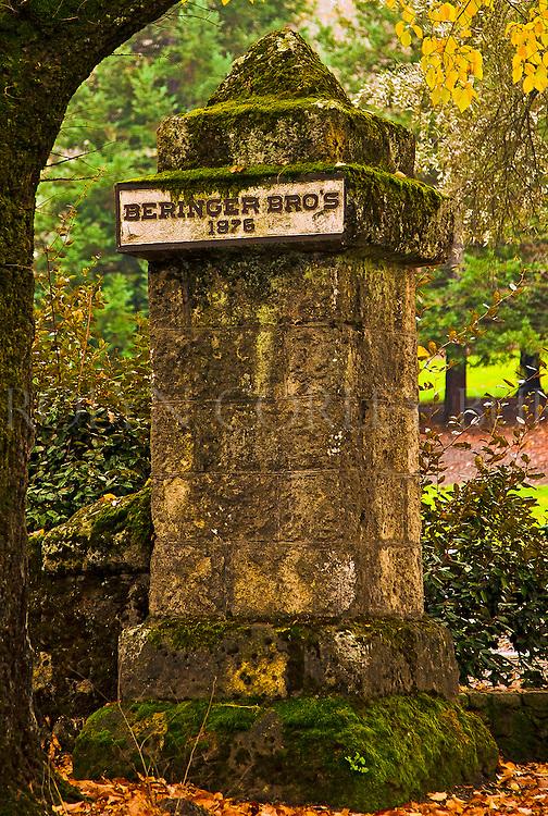 Beringer Brothers 1876 pillar in front of Beringer Vineyards along the historic tunnel of Elms in Saint Helena, California. Napa Valley.