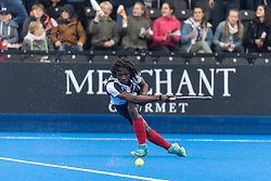 Hampstead & Westminster's Kwan Browne. Wimbledon v Hampstead & Westminster - Men's Hockey League Finals, Lee Valley Hockey & Tennis Centre, London, UK on 28 April 2018. Photo: Simon Parker