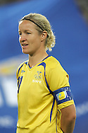 12 August 2008: Victoria Svensson (SWE).  The women's Olympic team of Sweden defeated the women's Olympic soccer team of Canada 2-1 at Beijing Workers' Stadium in Beijing, China in a Group E round-robin match in the Women's Olympic Football competition.