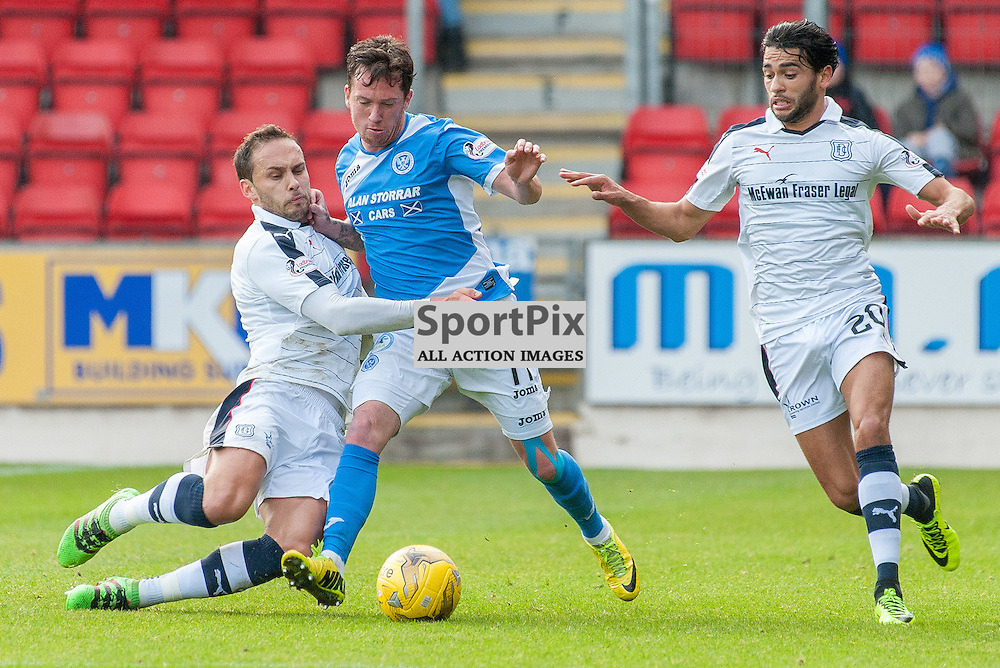 #7 Tom Hateley (Dundee), #11 Danny Swanson (St Johnstone) and #20 Faissal El Bakhtaoui (Dundee) - St Johnstone v Dundee - Ladbrokes Premiership - 23 October 2016 - © Russel Hutcheson | SportPix.org.uk