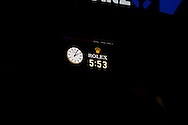 The clock, showing the official timing of the longest grand slam final ever. 2012 Australian Open Tennis Championship. Mens Singles Singles. Final. Rod Laver Arena, Melbourne and Olympic Parks, Melbourne, Victoria, Australia. 29/01/2012. Photo By Lucas Wroe