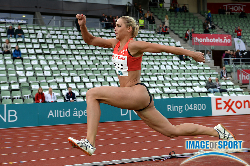 Jun 13, 2013; Oslo, NORWAY; Rodic Snezana (SLO) places fourth in the womens triple jump at 46-3 1/4 (14.10m) in the 2013 ExonMobil Bislett Games at Bislett Stadium. Photo by Jiro Michozuki