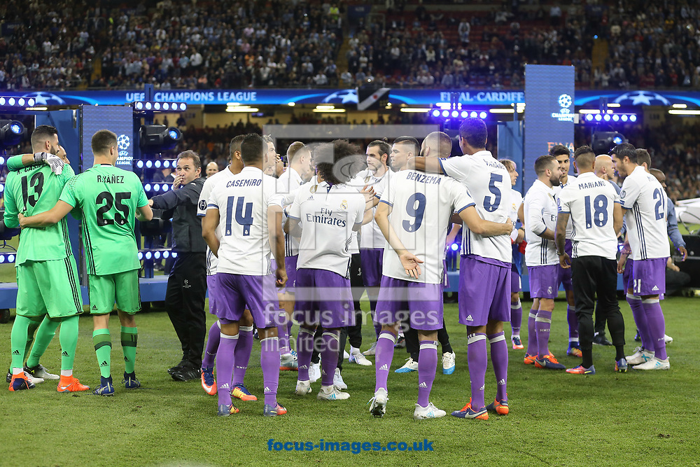 The Real Madrid players celebrate victory at the end of the UEFA Champions League Final at the Principality Stadium, Cardiff<br /> Picture by Paul Chesterton/Focus Images Ltd +44 7904 640267<br /> 03/06/2017