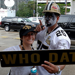 September 9, 2010; New Orleans, LA, USA; A New Orleans Saints fans outside prior to the NFL Kickoff season opener between the Minnesota Vikings and the New Orleans Saints at the Louisiana Superdome. Mandatory Credit: Derick E. Hingle