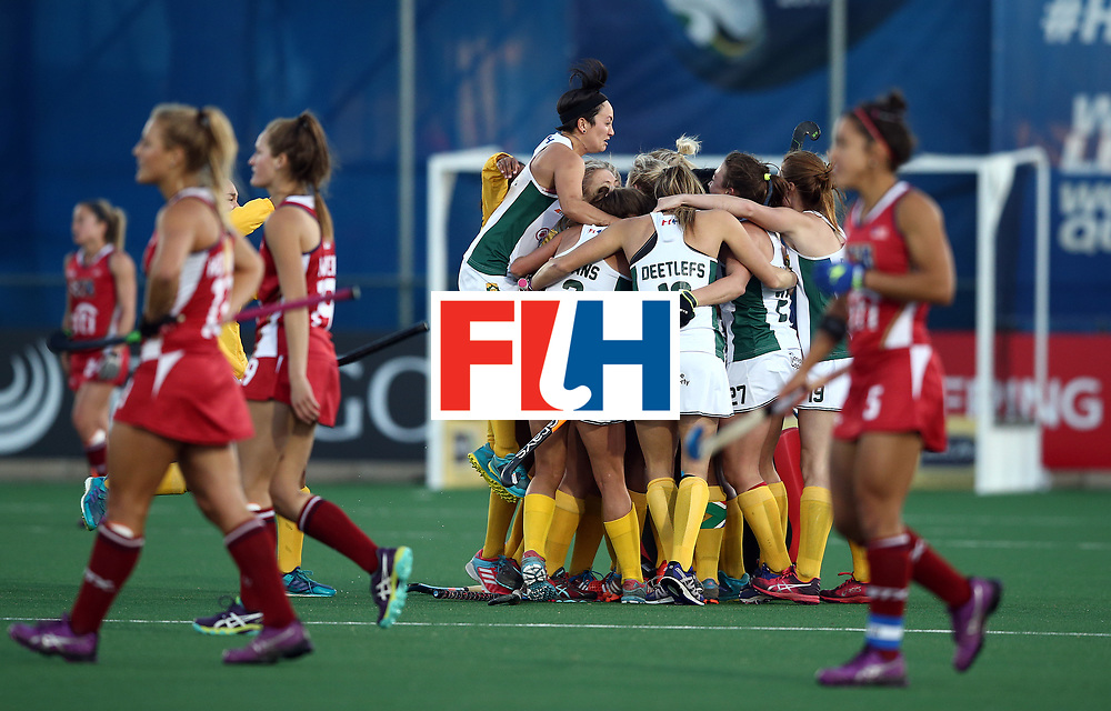 JOHANNESBURG, SOUTH AFRICA - JULY 16:  South Africa players celebrate victory at the final whistle during day 5 of the FIH Hockey World League Women's Semi Finals Pool B match between South Africa and United States of America at Wits University on July 16, 2017 in Johannesburg, South Africa.  (Photo by Jan Kruger/Getty Images for FIH)