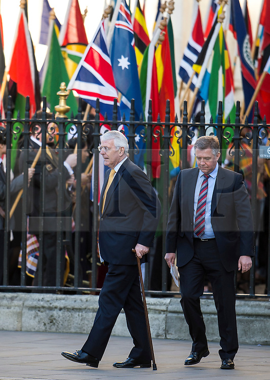 © Licensed to London News Pictures. 14/03/2016. London, UK. Former British prime minister JOHN MAJOR leaves Westminster Abbey in London after attending a service to mark Commonwealth Day 2016.  Photo credit: Ben Cawthra/LNP