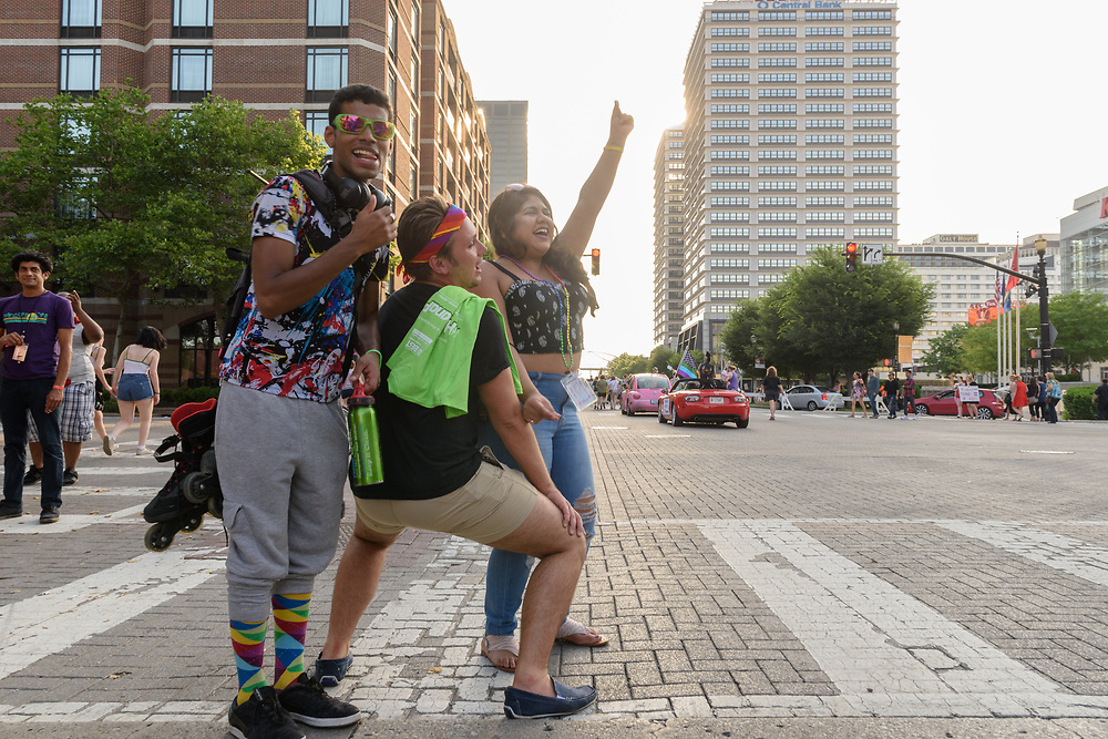 Drake Harbolt, Haley Engle and Hailey Harbolt.<br /> The Lesbian, Gay, Bisexual, Transgender, and Queer (LGBTQ) community and their friends, family and supporters walked and lined Main Street from Floyd Street to the Belvedere for the Kentuckiana Pride Parade, Saturday, June 16, 2017 in Louisville, Ky. (Photo by Brian Bohannon)