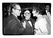 Jack Nicholson, Swifty Lazar and Elizabeth Taylor at Swifty's last Oscar Night  Party. Spago's. Los Angeles. March 1993. Film. 93237/8<br />