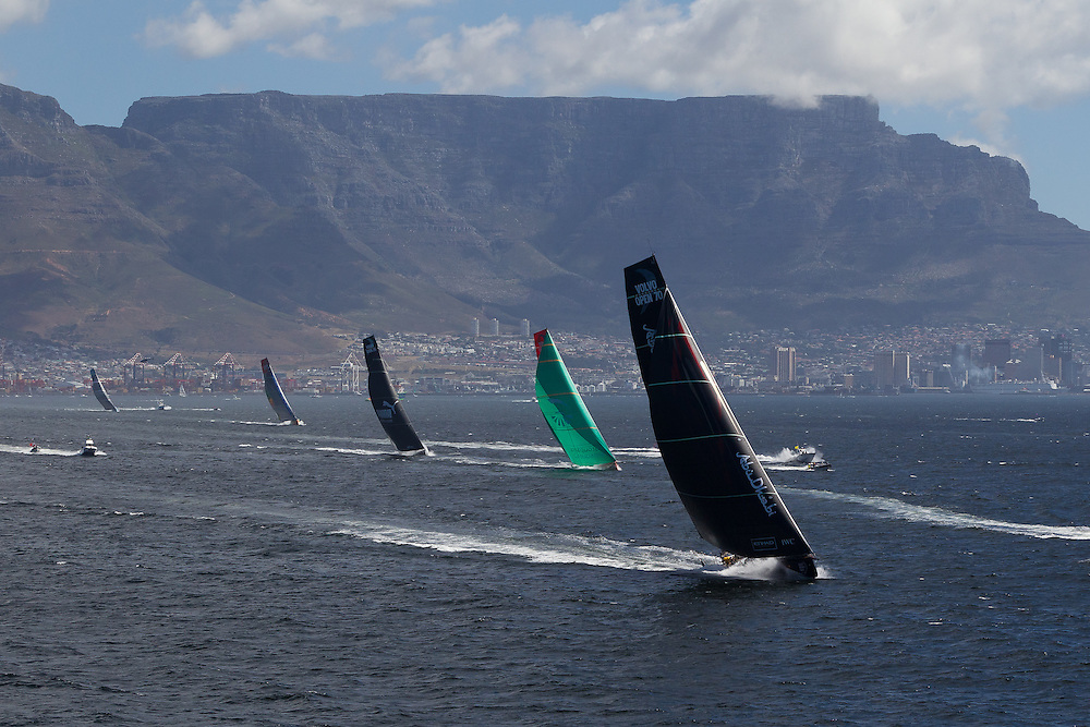 SOUTH AFRICA. 11th December 2011. Volvo Ocean Race. Start of Leg 2, Cape Town to Abu Dhabi. Abu Dhabi Ocean Racing lead the fleet off the start.