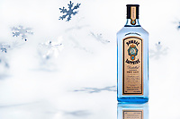 Bombay Sapphire gin with aluminum foil snowflakes