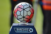Premier league ball during the Barclays Premier League match between Everton and Liverpool at Goodison Park, Liverpool, England on 4 October 2015. Photo by Alan Franklin.