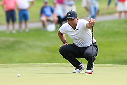 June 22, 2018 - Cromwell, Connecticut, United States - Jason Day lines up a putt on the 8th green during the second round of the Travelers Championship at TPC River Highlands. (Credit Image: © Debby Wong via ZUMA Wire)