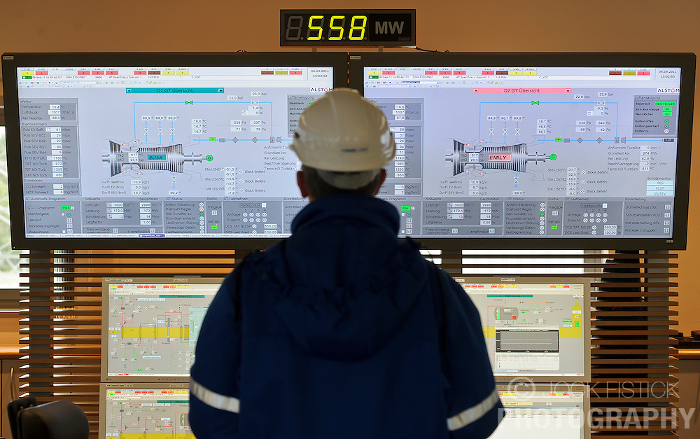 "An RWE employee monitors the two main generators, affectionately named ""Elisa"" and ""Emily"", in the control room at the RWE gas burning power plant, in Lingen, Germany, on Tuesday, Sept. 6, 2011. (Photo © Jock Fistick)"