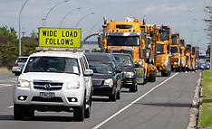 Tauranga-Heavy haulage procession for funeral of Rex Pollock crane legend
