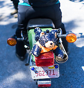 Cindy Jones affixes a small bear to the back of her Kawasaki Super Sherpa motorcycle.